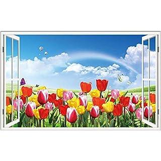 Willsego 3d tridimensionali muro adesivi false finestre nella stanza da salotto sfondo sfondo muro adesivi adesivi adesivi creativo autoadesivi impermeabile,due,piccolo (Color : Il Grande, Size : 14)