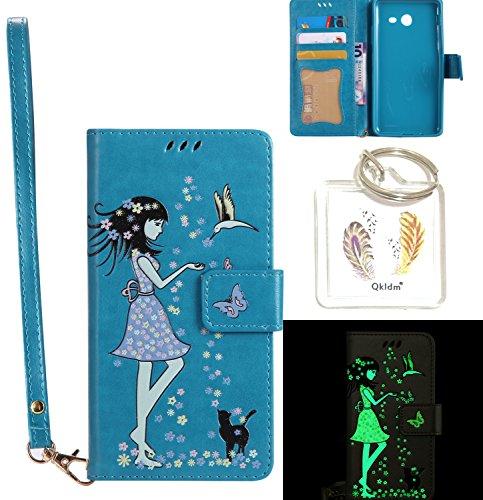 Preisvergleich Produktbild für Galaxy J5 2017 PU Fluoreszenz Leder Silikon Schutzhülle Handy case Book Style Portemonnaie Design für Samsung Galaxy J5 2017 (Version J530F) + Schlüsselanhänger ( DDL (9)
