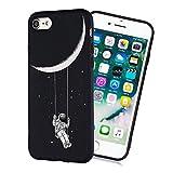 LeviDo Funda Compatible para iPhone 7/iPhone 8 Silicona Bumper Caucho Caso TPU Delgado Goma Parachoque Antigolpes Negro Cover, Astronauta