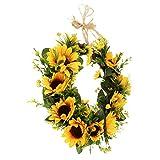perfeclan Landstil Türkranz Wandkranz Dekokranz mit Sonnenblumen und Rattan Design, 2 Größe Auswahl - 32 cm