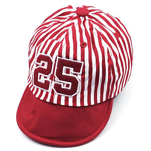 Kids Children Cotton Stripe Summer Baseball Hat Sun Beret Cap ( Red )