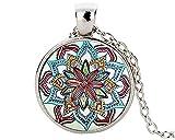 Precioso collar con colgante de flor de la vida, medallón Yoga Chakra Mandala, collar de moda para mujer, entrega rápida.