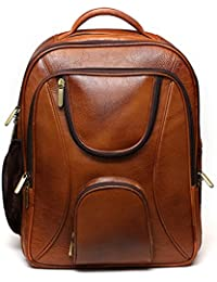 REO LEATHER BACKPACK WITH LAPTOP CASE BAG FOR MEN & WOMEN COLOR (TAN)