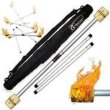 Pro Bâton du Diable Feu Set avec Kevlar mèche 65mm (Fire Devilstick) + Ultra-Grip Silicone Bâtons en BOIS +Sac de voyage! Professionnel en Feu Bâtons de Diable, Bâtons de Jonglage!