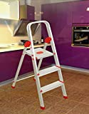 #6: Magna Homewares® Safe Step Plus Handy - Ultra-Stable 3-Step Foldable Aluminium Ladder for Home Use with 5-Year Warranty