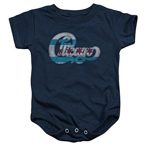 Chicago - Kleinkind-Flaggen-Logo Onesie, 24 Months, Navy (Chicago Kleinkind-shirt)