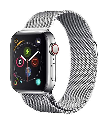 Apple Watch Series 4 GPS + Cellular, 40mm Edelstahlgehäuse mit Milanaise Armband