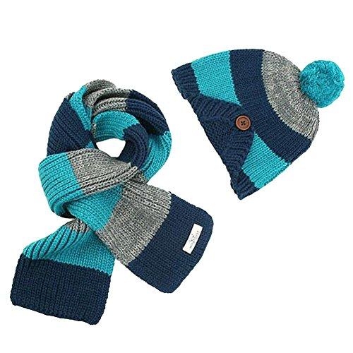 tonwalk-baby-boys-warm-scarf-caps-hats-sets-blue