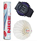 NC-10 Nice Strong Feather Badminton Shuttlecocks (Pack of Ten) with a free Digital Watch.