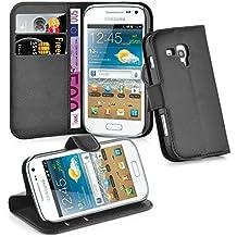 Samsung Galaxy TREND PLUS Funda Estilo Libro de Cuero Sintético en NEGRO FANTASMA de Cadorabo – Cubierta Protectora con Cierre Magnético, Tarjetero y Función de Suporte – Protección Carcasa Caja Etui Case Cover