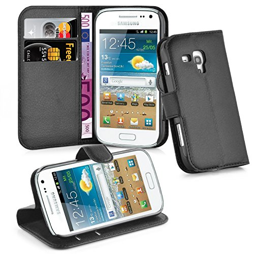 Cadorabo Custodia Libro per Samsung Galaxy TREND PLUS in NERO CARBONE – con Vani di Carte, Funzione Stand e Chiusura Magnetica – Portafoglio Cover Case Wallet Book Etui Protezione