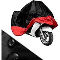 XL/XXL/XXXL Motorcycle Waterproof Outdoor Motorbike Water Resistant Dust proof UV Protective Breathable Cover Outdoor Protector Sliver/Blue/Red/Green/Black + Carry Bag UK Stock (XXL Black/Red)