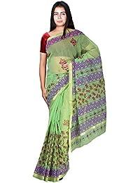 Panvi Kota Doria Cotton Silk Saree With Blouse Piece (P-47_Hand Block Printed Green_Free Size)