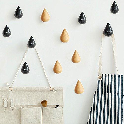 ZONYEE 2 Stück in Wassertropfen-Form-Haken, Holz, Regentropfen Tropfen, zum Aufhängen, Schal, Mütze Crude Wood