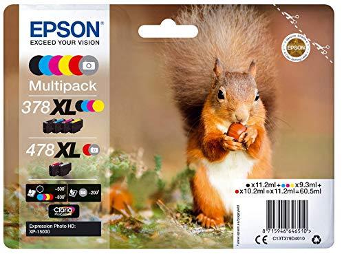 Epson 378 Serie Scoiattolo, Cartuccia originale getto d'inchiostro Claria Photo HD, Formato XL, Multipack 6 Colori