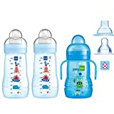 MAM Flaschen Babyflaschen Easy Active Baby Bottle Smart- Set//Boy//2 x Baby Bottle 270 ml mit Sauger Gr.1 + 1 x MAM Trainer mit Sauger Tropffrei 4 Mo+ + & Soft-Trinkschnabel