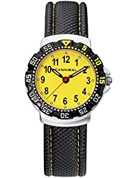 Cannibal Kid's Quartz Watch with Yellow Dial Analogue Display and Black Plastic or Pu Strap CJ091-18