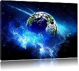 Planet Erde Format: 120x80 auf Leinwand, XXL riesige Bilder fertig gerahmt mit Keilrahmen, Kunstdruck auf Wandbild mit Rahmen, günstiger als Gemälde oder Ölbild, kein Poster oder Plakat