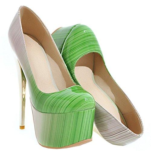 ENMAYER Frauen Lackleder Sexy Plattform Stiletto Super High Heels Runde und Peep Toe Pumps Slip auf Hochzeitskleid Court Schuhe 34 B(M) EU Grün#19