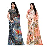 Anand Sarees Women's Faux Georgette Printed MultiColor Combo Sarees With Blouse Piece (COMBO_1285_1287)