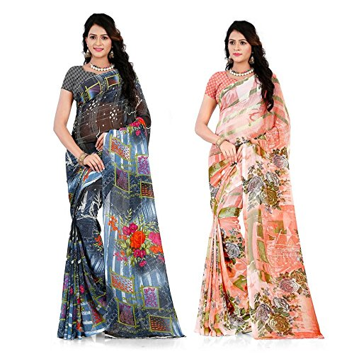 Anand Sarees Women's Faux Georgette Printed MultiColor Combo Sarees With Blouse Piece...