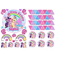 """Edible My Little Pony 4.7"""" Girls Uncut Icing Personalised Cake Topper with 49 EXTRA"""