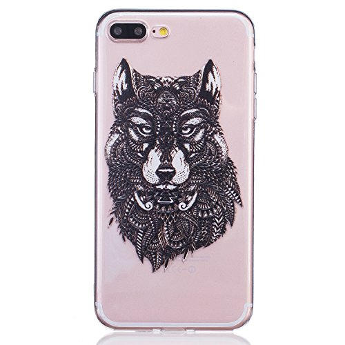 iPhone 7 Plus Silicone Case,iPhone 7 Plus Coque - Felfy Coque Souple Transparente TPU Silicone en Gel Case Premium Ultra-Light Ultra-Mince Skin de Protection Pare-Chocs Anti-Choc Bumper pour Apple iPh Loup