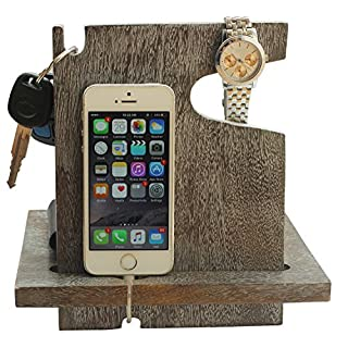 AB Handictafts - Mango Wooden Silver Android Docking Station, 50th for Couple, Funny, iPhone 6s plus, 6s, 6 plus, 6, 5, 5s, 4, Samsung Galaxy (For Daily Use)