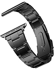 Apple Watch Correa, JETech 42mm Correa de Acero Inoxidable Reemplazo de Banda de la Muñeca con Metal Corchete para Apple Watch Todos los Modelos 42mm (Negro) - 2106