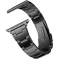 JETech Bracelet de Remplacement pour Apple Watch 42mm et 44mm Series 1 2 3 4, Acier Inoxydable, Noir