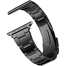 JETech Muñeca Banda Reemplazo para Apple Watch 42mm Series 1 2 3, Acero Inoxidable, con Metal Corchete, Negro