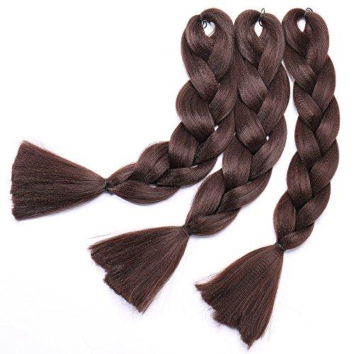 Extension treccine per capelli treccia finta kanekalon braids hair braiding extensions 100g/pcs, confezione da 3 ciocche, 4# marrone cioccolato