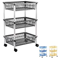 Axentia 235099 Storage Trolley with Three Baskets Plastic  - assorted