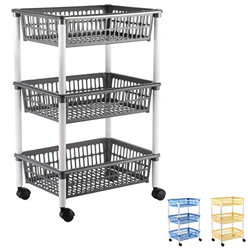 axentia Küchenwagen mit 3 Körben, Transportwagen auf Rollen, Rollwagen für Küche und Büro, Servierwagen in Gelb, Blau oder Anthrazit, Kunststoff