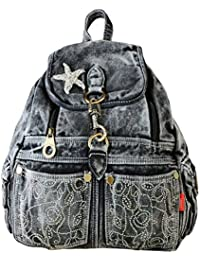 25f51a92ddf68 Damen Rucksack Backpack Daypacks Schüler Backpacks Schultaschen Fashion  Jeans