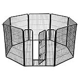 FEANDREA Parc pour Animaux, 8 Panneaux, Enclos pour Chien, 77x100cm, Noir PPK81H