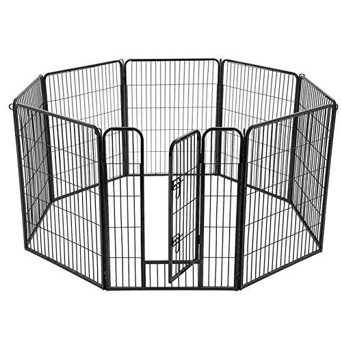 uf Welpenlaufstall Tierlaufstall Freilaufgehege Hundelaufstall Welpenzaun Absperrgitter Zaun Gitter Welpen Hasen Kaninchen 8-Eck schwarz 77 x 100 cm PPK81H ()