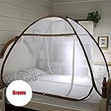 Moskitonetz Bett Baldachin, Premium Bug Screen Repellant, Rechteckige Bildschirm Netting Vorhang, Insektenschutz Repellents, Insekten Abstößt Malaria & Krankheiten,Brown,1.5Mbed