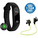 Raptas Intelligence M2 Smart Fitness Band With Features Like Heart Rate Sensor/Pedometer/Sleep Monitoring Functions With Bluetooth 4.1 Wireless Stereo Sport Headset Jogger Hi-fi Sound With Hands-free Calling Works With Nokia 6(One Year Warranty)