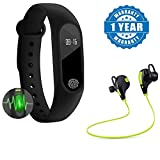 #9: Raptas Intelligence M2 Smart fitness Band with Features like Heart Rate sensor/Pedometer/Sleep Monitoring functions With Bluetooth 4.1 Wireless Stereo Sport Headset Jogger Hi-fi Sound With Hands-free Calling Works with Xiomi Redmi 4A(One Year Warranty)
