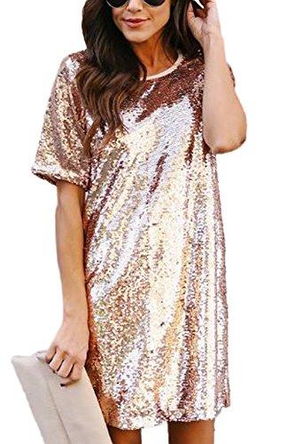 Zamtapary le donne occasionale in maniche corte paillettes lustrini brillante mini vestito rosegolden l