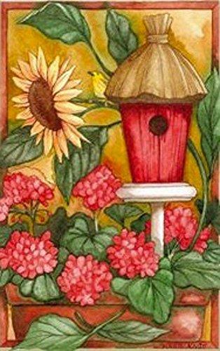 Fiore Birdhouse Summer Garden Flag