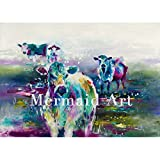 HANDGEMALT modernes Stil hochwertige Abstract Animal Colorful Milchprodukte Herde Ölgemälde Wandschmuck Leinwand Home Art, canvas, 40x64inch(100x160cm)