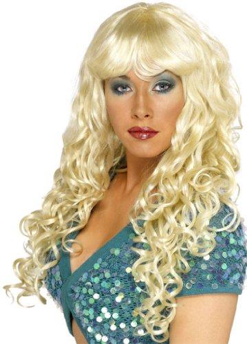 Blonde Perücke Hexe Halloweenperücke Halloween gelockte Langhaarperücke für Damen mit Pony lang Haar gelockt Blond (Halloween-kostüm Glamour Girl)