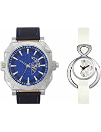 SVM VL44VT15 New Couple Combo Designer Stylish Leather & Plastic Belt Analog Watch For Men & Women