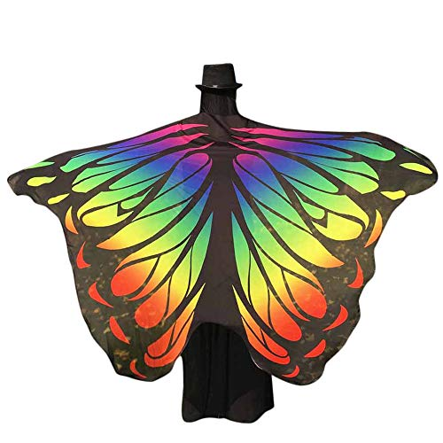 WOZOW Damen Schmetterling Flügel Kostüm Nymphe Pixie Umhang Faschingkostüme Schals Poncho Kostümzubehör Zubehör (Hell-Pink &Rot)