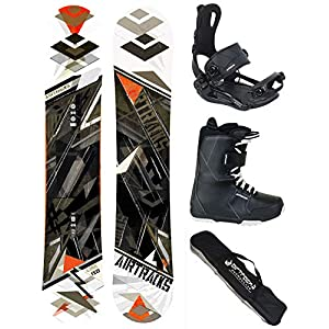 Airtracks Snowboard Komplett Set – LINE Snowboard Zero Rocker + Snowboardbindung Master FASTEC TM + Snowboardboots + Sb Bag / 150 154 158 162 cm