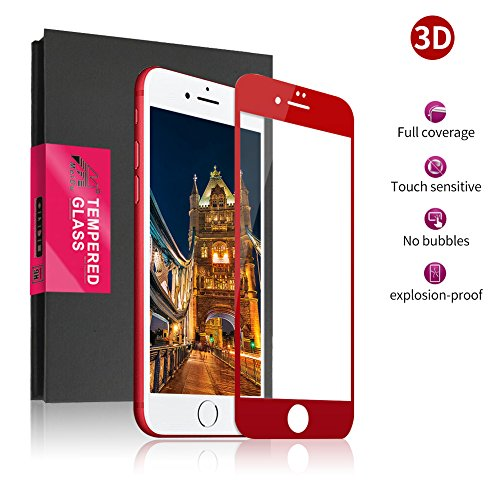 Meidom iPhone 7 iPhone 8 Panzerglas Schutzfolie 3D Touch Kompatibel Panzerglasfolie,9H Härte Panzerfolie,Anti-Öl,Kratze und Fingerabdruck Displayschutzfolie für iPhone 7 iPhone 8 Folie-Rot