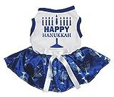 Petitebelle perro vestido feliz Hanukkah candelabro de algodón de color blanco tutú de color azul