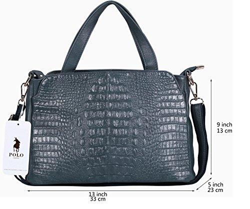 04e3870b61 VIDENG POLO Cuir véritable Crocodile Imprimé Sac à main Sac d'épaule  Cartable pour Femmes